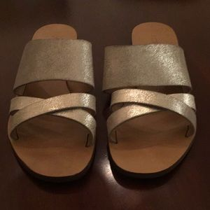 J. Crew Platinum / Gold Sandals 7